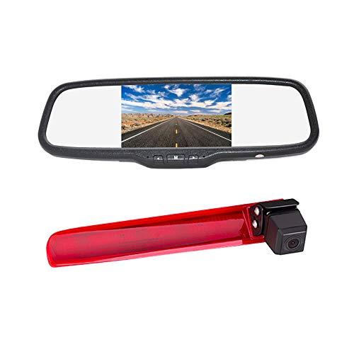 Vardsafe VS938C | Caméra de recul pour feu stop + moniteur de rétroviseur à clipser pour Volkswagen VW Transporter T5/T6 (avec 2 portes arrière)