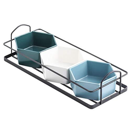 Angoily 1 Set Keramik Vpeise Serviertablett Tragbarer Griff Rhrklben Servierplatte mit Herausnehmbarem Geschirren Tablett Perfekt fürder Chips Und Dip Schwarz