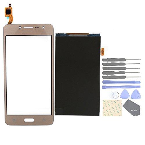 VEKIR Repuestos de teléfonos celulares para Samsung Galaxy J2 Prime Grand Prime Plus G532F G532M G532G Panel de Vidrio de Pantalla táctil+ Pantalla LCD[Not Yet Combined](Golden)