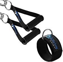 Fitteroy Cable Machine Attachments Handles and Ankle Strap - Gym and Home Gym Accessories - Exercise Handles and Leg Strap for Resistance Bands