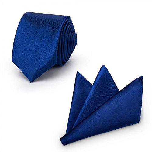 Rusty Bob Rusty Bob - Krawatte mit Einstecktuch (in vielen Farben) - für die Verlobung, die Hochzeit - Schlips mit Taschentuch für das Sakko - 2er-Set - Navy