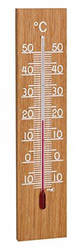 TFA Dostmann Analoges Innen Außen Thermometer, 12.1054.01, hergestellt in Deutschland, Wetterfest, hohe Genauigkeit, Eiche