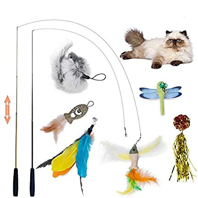 Dono Interactive Cat Feather Wand-8 pcs Cat Toys Retractable Cat Wand Toy Colorful Unique Replacement Teaser with Bell, Multi Feather Teaser Refills for Indoor Cats and Kitten