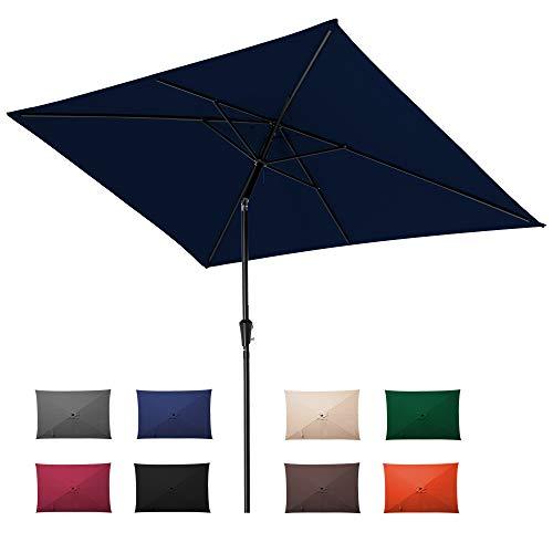 ROWHY 6.5 x 10ft Rectangular Patio Umbrella Outdoor Table Umbrella Market Umbrella with Push Button Tilt and Crank Portable Garden Sunshade UV Protection Waterproof for Lawn Garden, Backyard, Navy