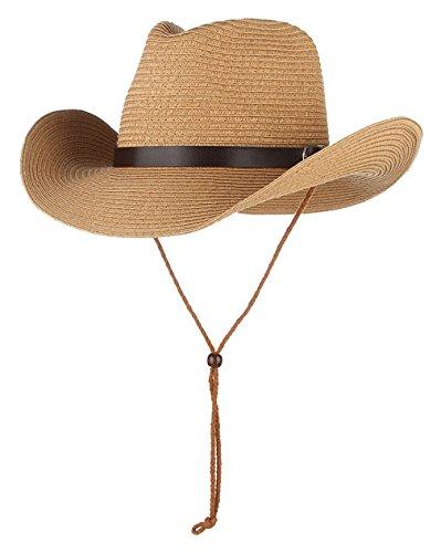 EOZY Kinder Stroh Cowboyhut Sommer Sonnenhut Strohhut Fasching Westernhut Braun