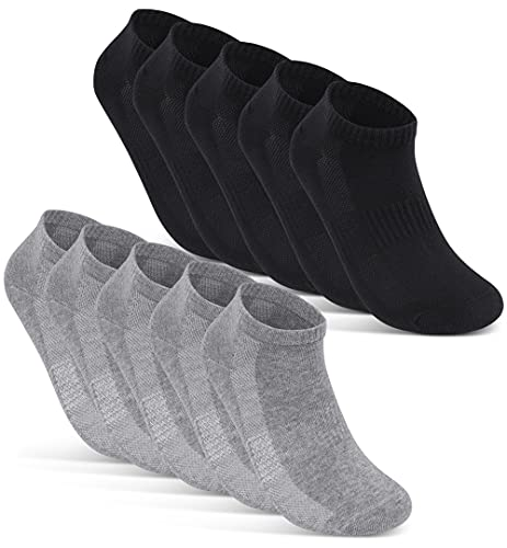 10 Paar Sneaker Socken Herren Damen Schwarz Weiß Grau Baumwolle Mesh 16510 (35-38 Schwarz+Grau)