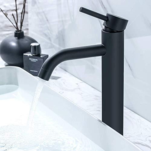 LOMAZOO Waschtischarmatur für Bad - Wasserhahn Bad | Waschbeckenarmatur Mischbatterie-Armatur Bad Einhebelmischer für Badezimmer | Badarmatur Edelstahl Schwarz (Cardano)
