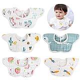 Bebamour - Baberos con bandana para bebé, baberos para baba para niños, paquete de 5 baberos para bebé con patrón de algodón suave, súper suave y absorbente para niños y niñas