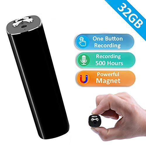 Digital Voice Recorder, Binrrio 32G Voice Activated Recorder with 500 Hrs Working Time and Strong Magnetic for Lectures Students,Playback,Noise Reduction,Password,Mp3 (Black)