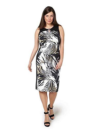 Doris Streich Damen Kleid mit Zebramuster mit Kontrastbesätzen