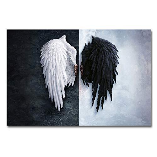 Moderne engelenvleugels veer muurkunst canvas bedrukt schilderijen op de muur schilderij voor de woonkamer, poster en afdrukken 70x105cm