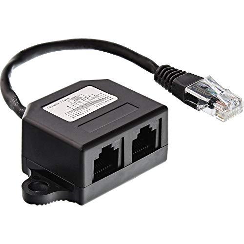 InLine 69932B ISDN Verteiler, 2x RJ45 Buchse, 15cm Kabel, mit Endwiderständen, montierbar