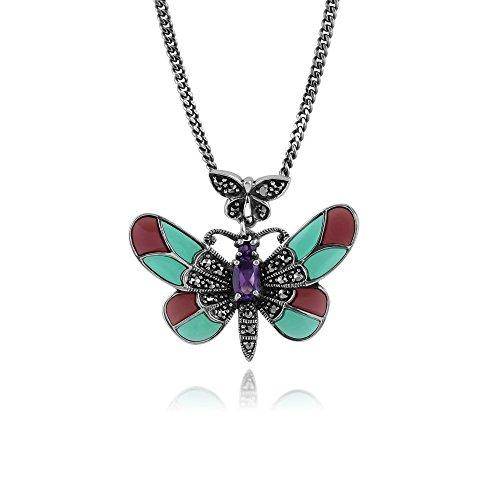 Gemondo Art Nouveau Necklace, Sterling Silver 0.25ct Amethyst, Marcasite & Enamel Butterfly 45cm Necklace (0.25 Ct Art)
