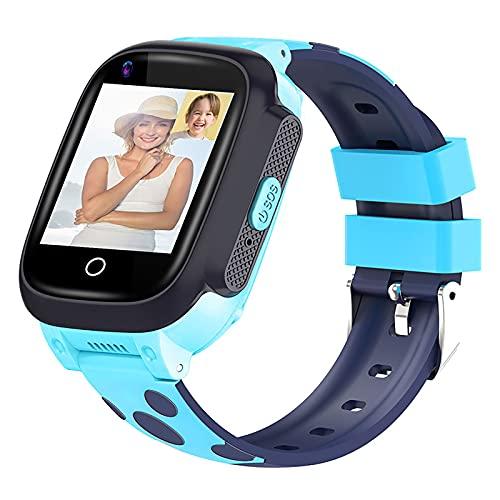 FVIWSJ Reloj Inteligente Multifuncional con Pantalla táctil, Pulsera con rastreador GPS,Llamada telefónica,cámara,Linterna SOS,Reloj Deportivo Digital para niños,niñas,Regalo,Azul