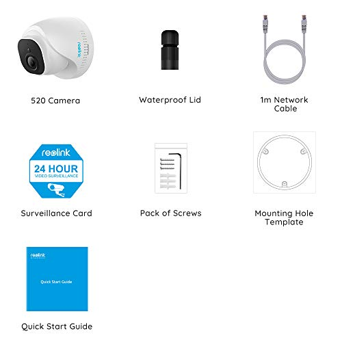REOLINK PoE IP Camera Outdoor 5MP HD Video Surveillance Work with Google Assistant, Audio IR Night Vision Motion Detection SD Card Slot, RLC-520