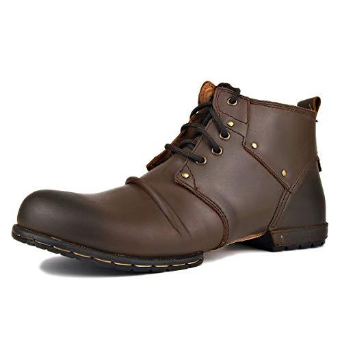 OTTO ZONE Moto Stiefel für Herren, modisch, mit Reißverschluss, Leder Chukka Stiefel mit Fell Freizeitschuhe OZ-6015-2 Herren, Mode, Chukka-Schuhe 10.5 braun