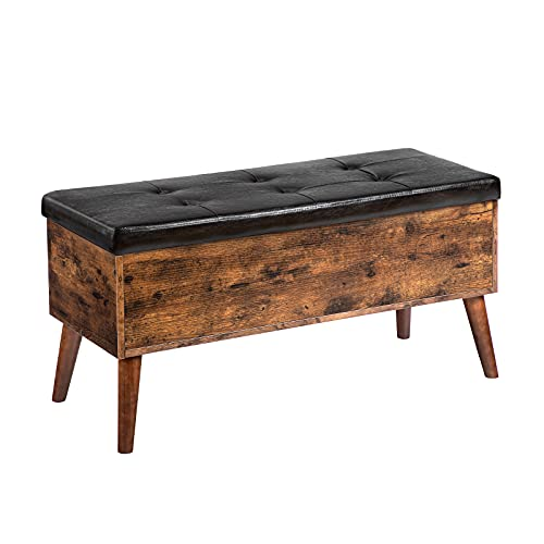 HOOBRO Sitzbank, Schuhbank mit Stauraum, 97 x 40 x 46.5 cm, gepolsterte Truhe, Beine aus Massivholz, Stabiler, Flur, Schlafzimmer, einfacher Aufbau, Betttruhe, Schuhschrank, Vintage EBF97CW01
