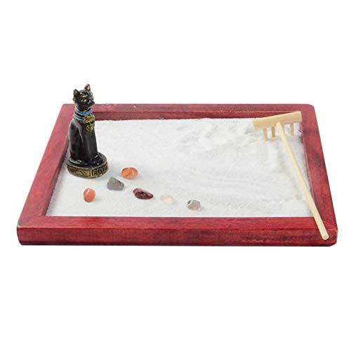 VOSAREA Jardín Zen en Miniatura Jardín de Arena Zen de Escritorio con Rastrillo de Gato Negro Y Piedras para Regalo de Hogar de Oficina Rojo
