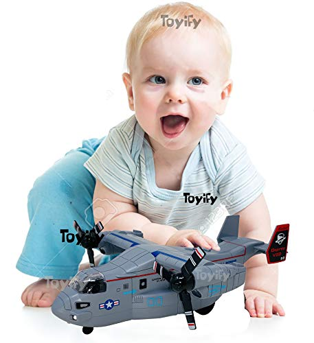 Toyify Big Size Unbreakable Strong Durable Push & Go Aeroplane Toy Model with Light and Sound Effects Jumbo Size Toys | Color May Vary 【Unbreakable Material】