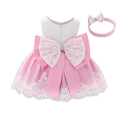 IWEMEK Vestido de encaje para bebé niña, con lazo, para dama de honor, boda, tutú, princesa, cumpleaños, fiesta, bautizo, niño, vestido formal de fiesta 04 Baby Pink 9-12 Meses