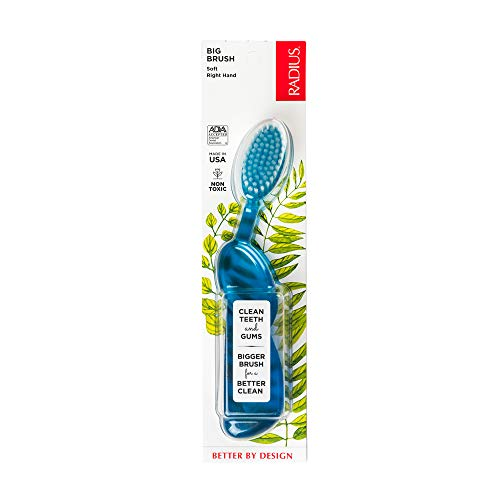 RADIUS Toothbrush Big Brush, Right Hand, Blue/Natural, BPA Free and ADA Accepted, Designed to Improve Gum Health and Reduce the Risk of Gum Disease