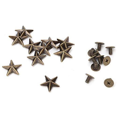 Oumefar 10 Uds Tornillos de Estrella de Metal Remache de uñas Remache Tornillo de Punta para cinturón de Cuero Artesanal Bolsas Zapatos decoración DIY(14mm Convex Bronze)