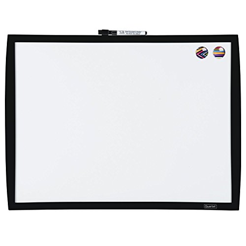 Quartet Magnetic Whiteboard, 17' x 23' Small White Board for Wall, Dry Erase Board for Kids, Perfect for Home Office & Home School Supplies, 1 Mini Dry Erase Marker, 2 Magnets, Black Frame (34608-BK)