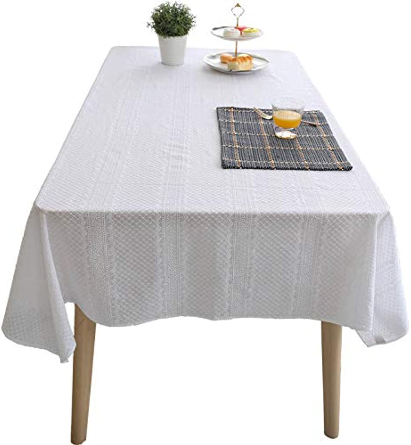 Creek Ywh Simple modern tablecloth plain tablecloth living room European coffee table tablecloth tablecloth rectangle, netted summer foam white, 110170cm