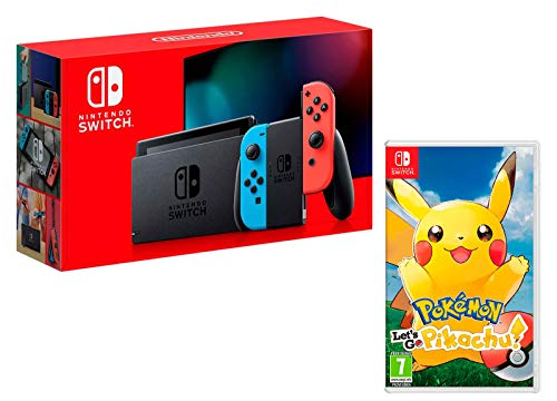 Nintendo Switch Rouge/Bleu Néon 32Go + Pokémon: Let´s Go, Pikachu!