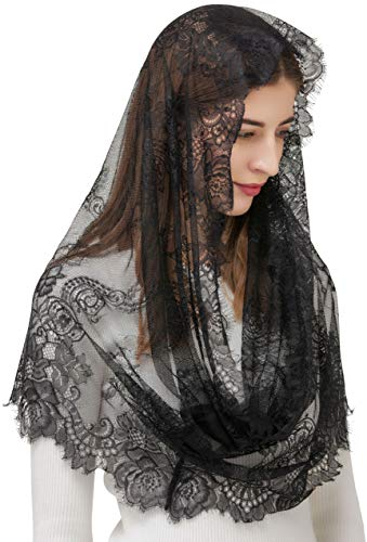 Pamor Spanish Style Lace Traditional Vintage Inspired Infinity Shape Mantilla Veil Latin Mass Head Covering (Black)