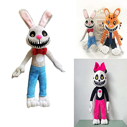 FgyFSAs Mr Hopps Playhouse Plush Toy,Theater Horror Rabbit Plush Toy, Cartoon Animal Tiger Doll-PP Cotton Filling Toys,for Horror Game Props,Kids Fans Gifts,Birthday Gift (Rabbit)