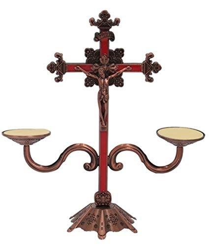 22,9 cm großes Metallkreuz mit Kerzenhalter-Dekorationen (Farbe: SYJ 910R, Kreuzgröße: 22,9 cm)