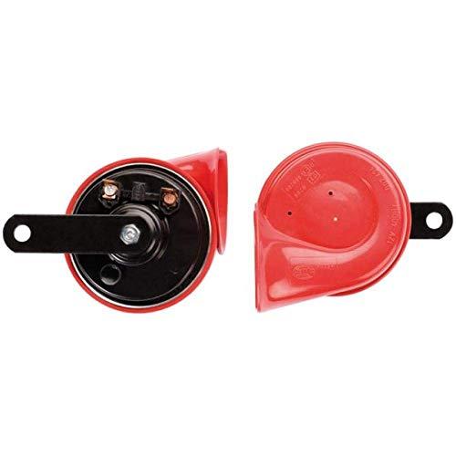 HELLA 3FH 007 424-811 Fanfare - TE16 - 12V - 110dB(A) - Frequenzbereich: 400 500Hz - elektrisch - Gehäusefarbe: rot schwarz - Flachsteckanschluss - Set - Menge: 2