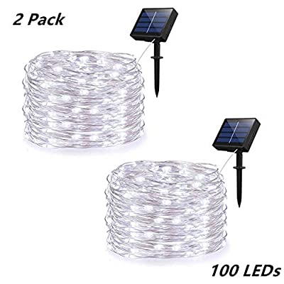 Syka Fairy String Lights, 2 Pack LED String Lights with 8 Modes 100 LEDs 33ft Silver Copper Wire, Waterproof Fairy Lights for Garden Gate Yard Patio Dancing Party Trees