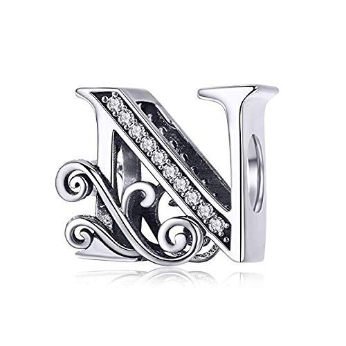Genuine 925 Sterling Silver Initial A-Z Alphabet Bead 26 Letter Charms for Pandora Bracelet Jewellery (N)