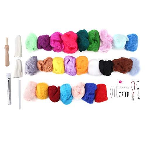 HEEPDD Nålfiltningskit, 25 färger ull roving startverktygssats med läder finger spjälsäng Awl skummatta för gör-det-själv hantverk filtning nybörjare