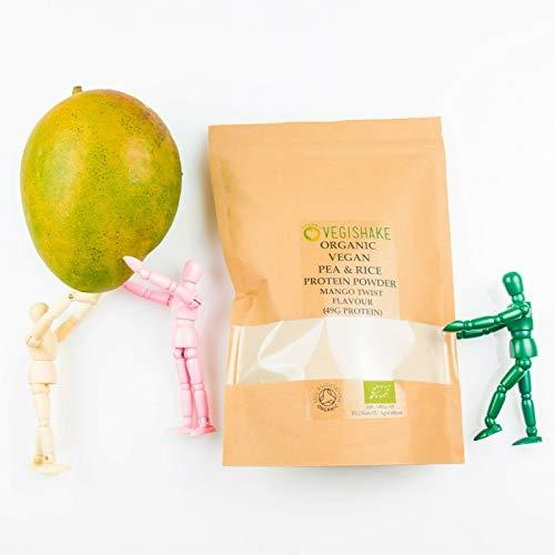 Organic Pea & Rice Protein Powder Mango Twist Flavour 49g Plant Protein Amino ECAA BCAA Complete Vegan (500g Powder)