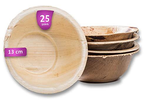 Waipur Bio Palmblattschalen - 25 Schalen Ø 13 cm / 275 ml - Premium Einweggeschirr kompostierbar - Einweg Suppenteller - Palmblatt Suppenschale