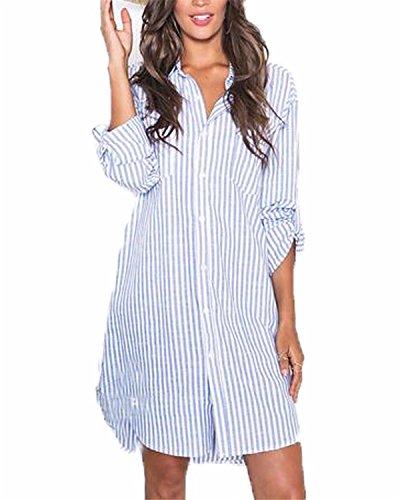 Auxo Damen Streifen Langarm V-Ausschnitt Party T-Shirt Lose Tops Langshirt Hemdkleider Blau & Weiß EU 40/Etikettgröße L