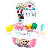 PBTRM Set Utensilios Mini Cocina Juguete Playset Regalos Educativos, Niños Comida Juegos Incluye Múltiples Accesorios,Rosado