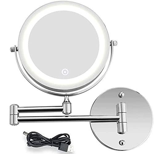 Espejo de tocador, Espejo de Pared LED Espejo de Belleza 1X /...