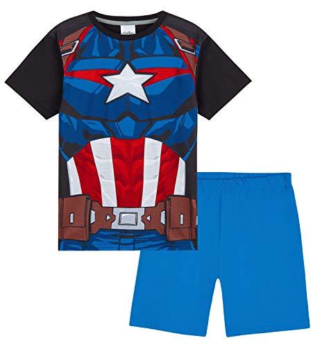 Marvel Pijama Niño Capitan America, Pijamas Niños Cortos, Merchandising Oficial Regalos para Niños y Adolescentes Edad 4-14 Años (Azul, 9-10 años)