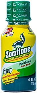 Zorritone Cough Syrup | Mint Flavored Cough Suppressant Syrup with Vitamin A, Vitamin D3, and Eucalyptus for Fast Acting Cold and Flu Cough Relief, Dosage Cup Included; 4 Fluid Ounces