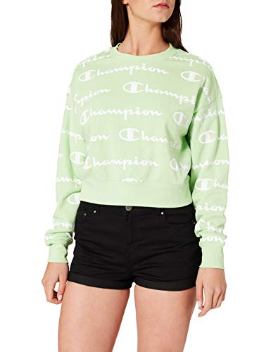 Champion Seasonal AC Logo Allover Crewneck Sweatshirt Sudadera, Verde Claro, S para Mujer