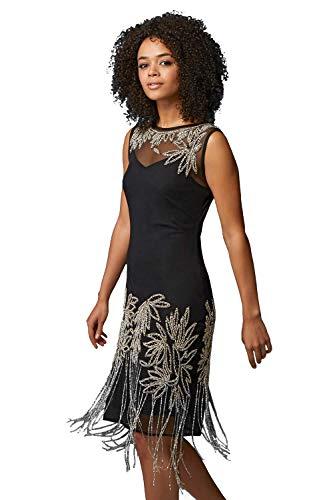 Roman Originals Femme Robe Gatsy Années 20 à Franges Perlée Flapper - Charleston Elegante Vintage Retro Soirée Fete Art Déco - Or Noir - Noir - Taille 38