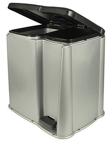 Abfalleimer Mülleimer,Ordnungshelfer, Treteimer, 14 Liter , Silber/ Grau