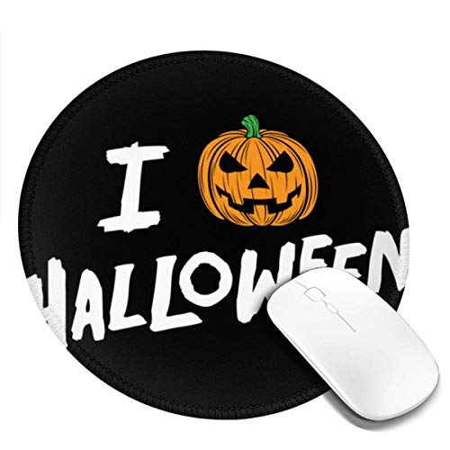 Yuanmeiju I Love Halloween Jack O' Customized Designs Non Slip Rubber Base Gaming Mouse Pads for Mac,7.9x7.9 in Pc, Computers. Ideal for Working Or Game