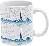 Taza de café con acuarela, pintura al óleo, francesa, torre de París, paisaje de la ciudad