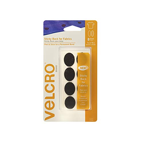 VELCRO Brand for Fabrics | Permanent Sticky Back Fabric Tape for Alterations and Hemming | Peel and Stick - No Sewing, Gluing, or Ironing | Pre-Cut Ovals, 1 x 3/4 inch, Black - 8 Sets