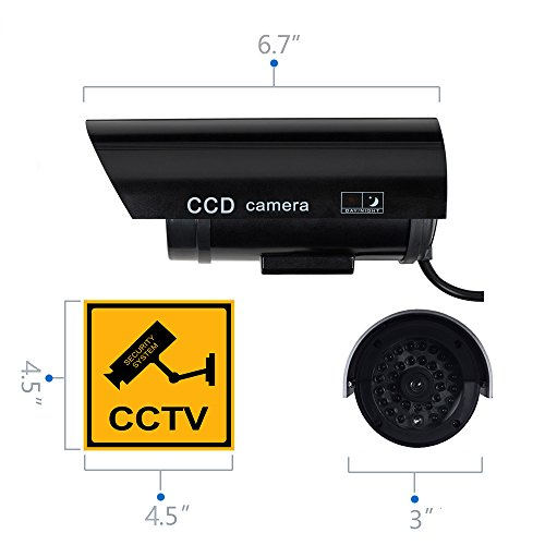WALI Bullet Dummy Fake Surveillance Security CCTV Dome Camera Indoor Outdoor 1 Flashing LED Light and Security Alert Sticker Decals B1-4 (Black), 4 Pack